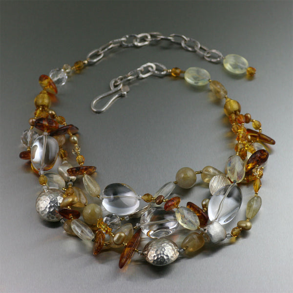 Amber Citrine Crystal Quartz Beaded Gemstone Necklace