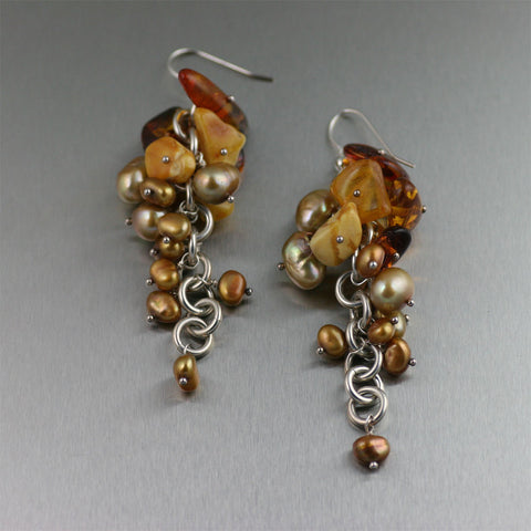 Sterling Silver Amber Chainmail Chandelier Earrings