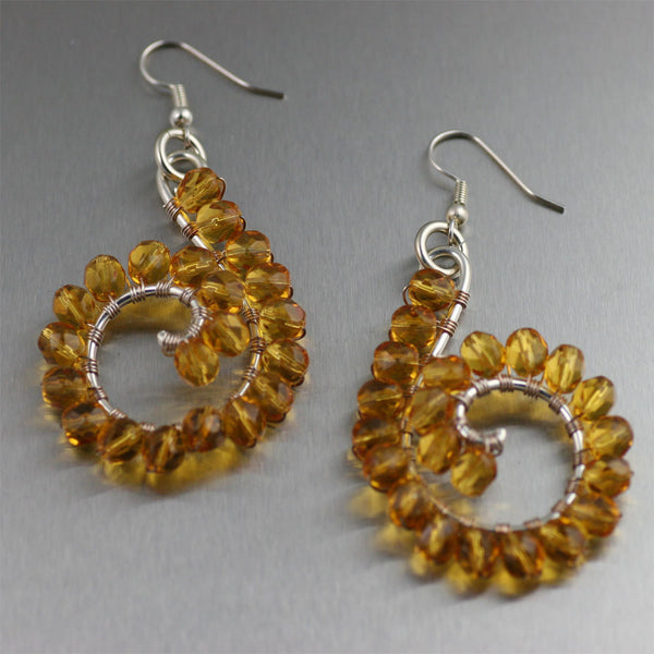 Amber Wire Wrapped Sterling Silver Earrings