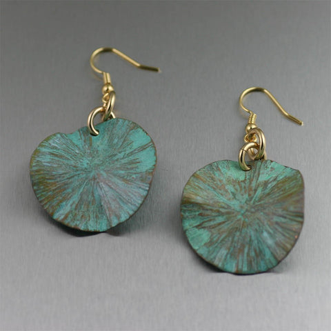 Apple Green Patinated Copper Lily Pad Earrings