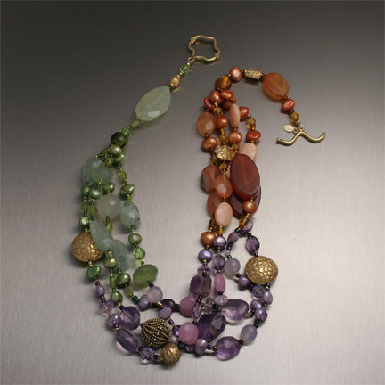 Tropical Garden Necklace - Amethyst, Jade, Freshwater Pearls, Amber