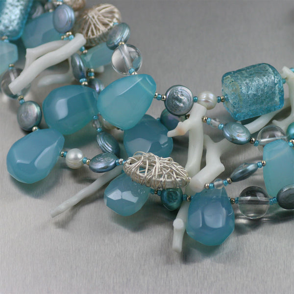 Blue Chalcedony White Coral Necklace - Detail