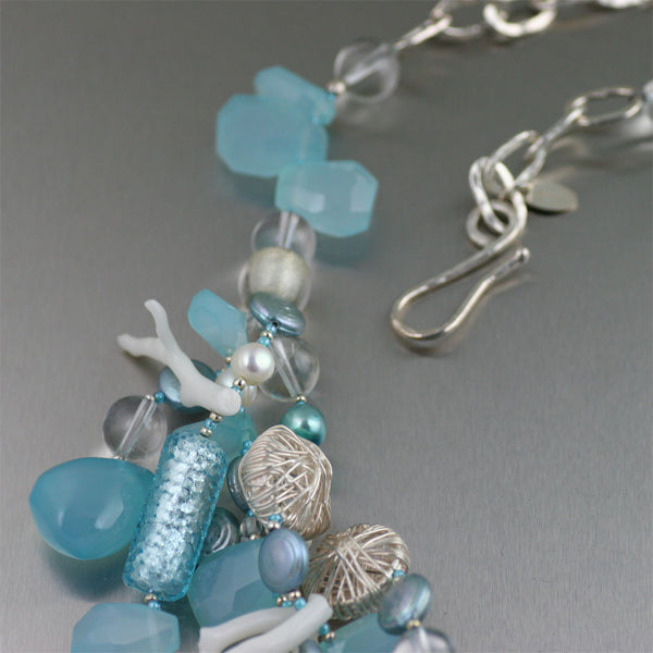 Blue Chalcedony White Coral Necklace - Detail 2