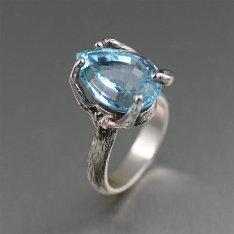 13 carat Pear Cut Blue Topaz Sterling Silver Cocktail Ring