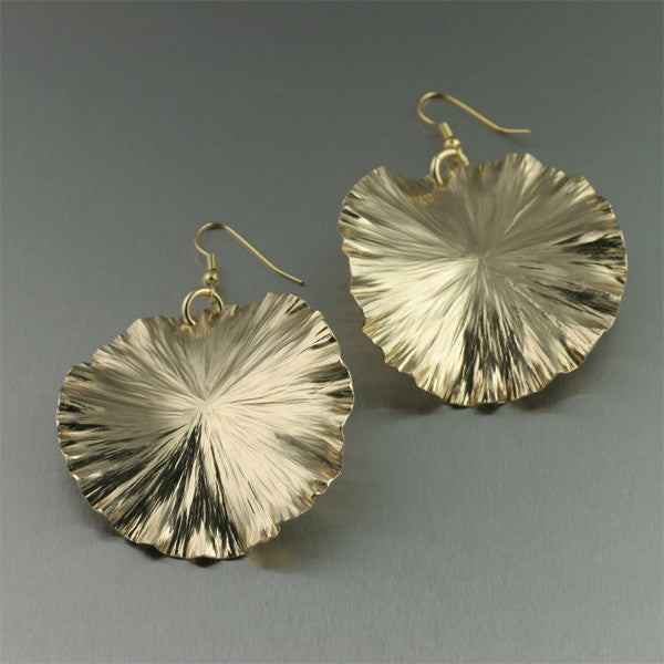 Large Nu Gold Lily Pad Earrings