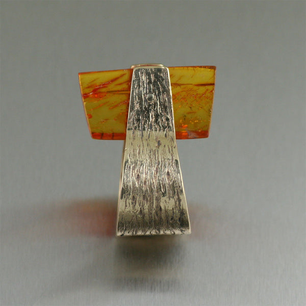 Bronze Bark Ring with Amber - Handmade Jewelry by John S Brana