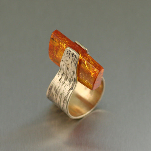 Contemporary Handmade Bronze Ring with Amber by San Francisco jewelry designer John S Brana
