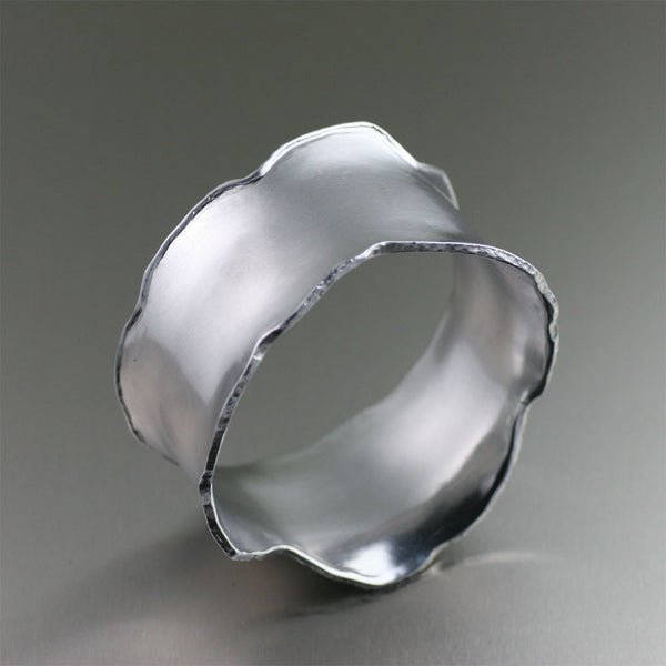 Brushed Aluminum Bangle Bracelet by jewelry designer John S Brana