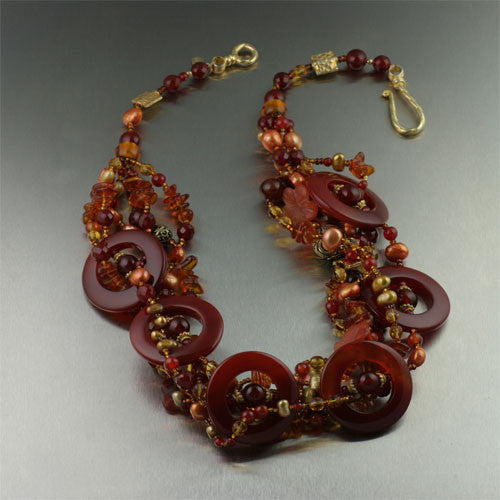Vermeil Carnelian Beaded Gemstone Necklace
