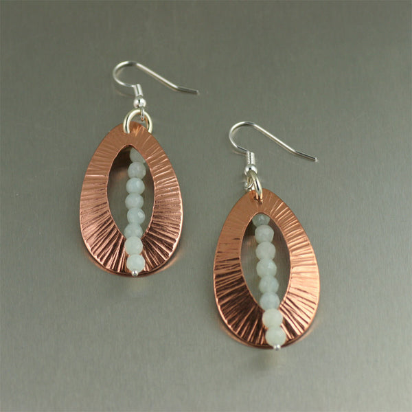 Chased Copper Earrings with Amazonite