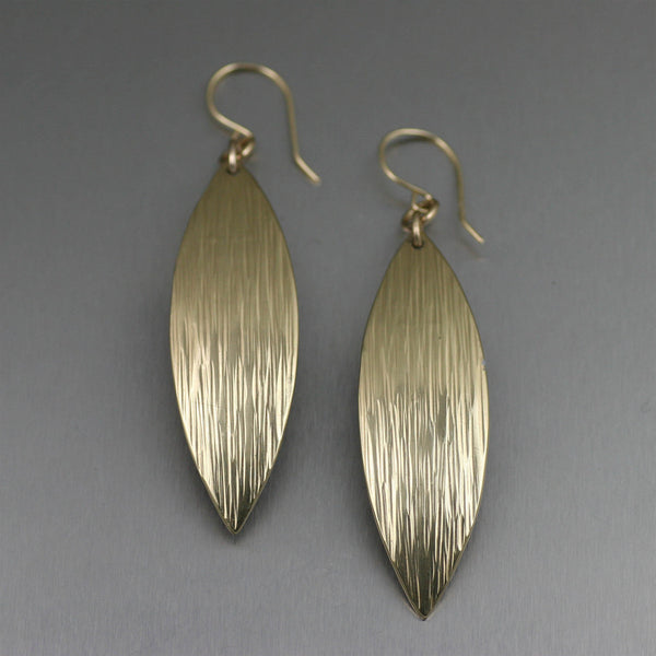 Medium Chased Nu Gold Brass Leaf Earrings