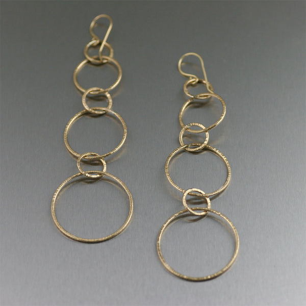 Chased Nu Gold Brass Dangle Earrings