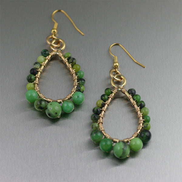 Chrysoprase 14K Gold-Filled Tear Drop Earrings