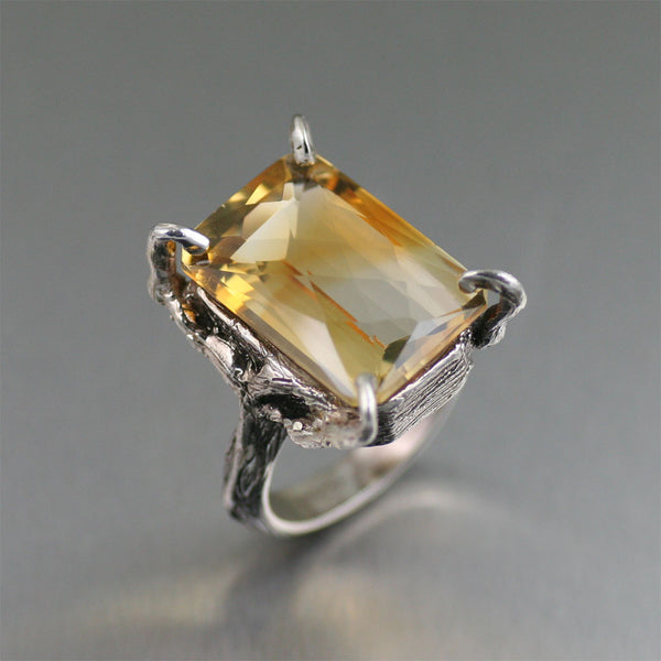 21.5 ct Checkboard Cut Citrine Sterling Silver Cocktail Ring