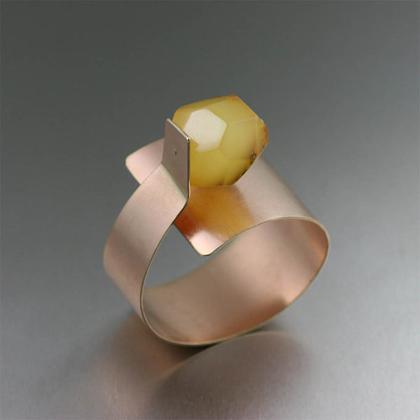 Contemporary Bronze Bangle with Butterscotch Amber by jewelry designer John S Brana