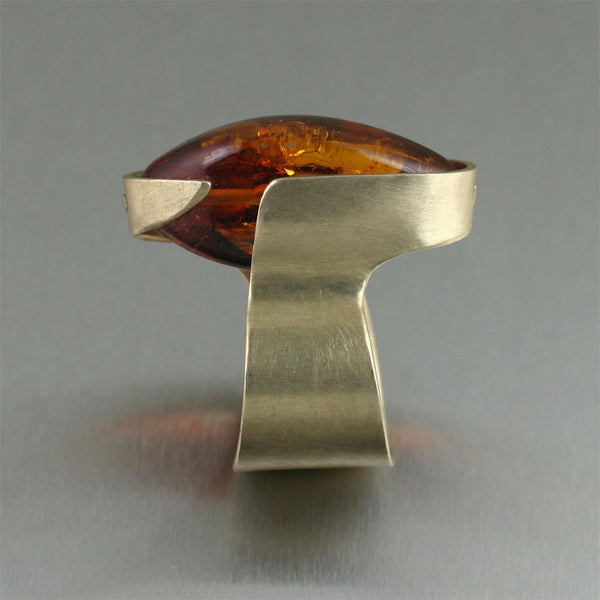 Contemporary Bronze Handmade Ring with Amber - Side View