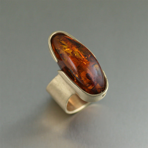 Contemporary Bronze Handmade Ring with Amber