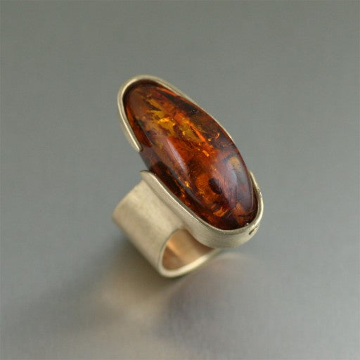 Contemporary Bronze Ring with Amber - Handmade Jewelry by John S Brana