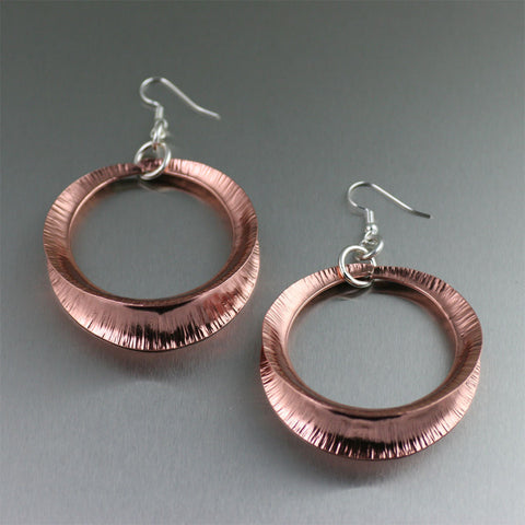Copper Fold Formed Shell Earrings