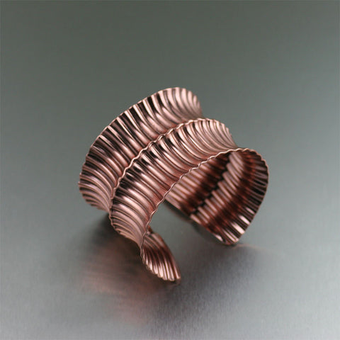 Anticlastic Fold Formed Corrugated Copper Cuff