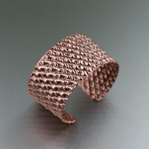 Double Corrugated Copper Cuff Bracelet