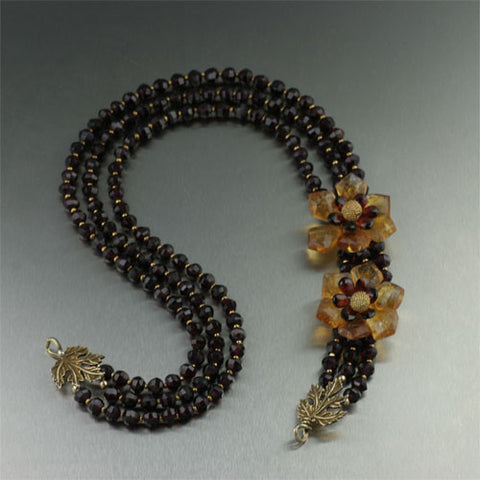 Faceted Garnets and Citrine Flower Necklace
