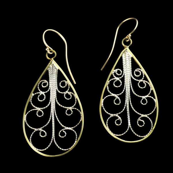 18K Gold Filigree Earrings with Find Silver
