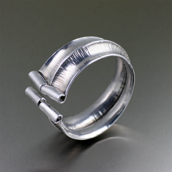 Fold Formed Aluminum Anticlastic Bangle Bracelet