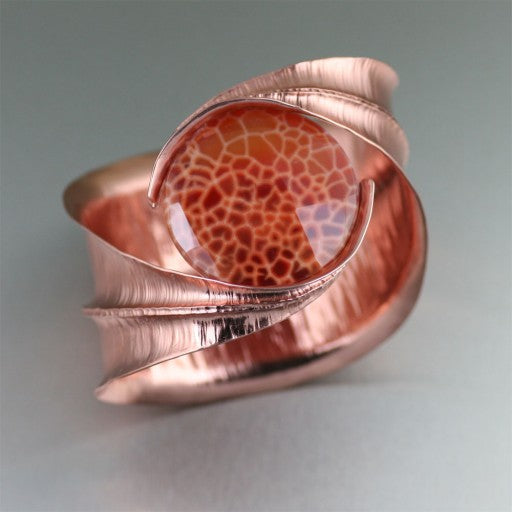Fold Formed Brazilian Fire Agate Copper Bangle