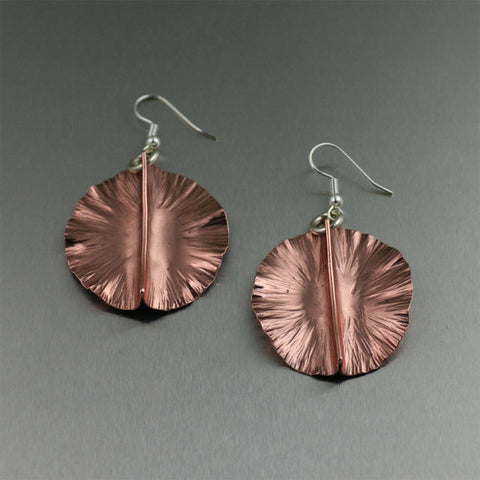 Copper Fold Formed Lily Pad Earrings