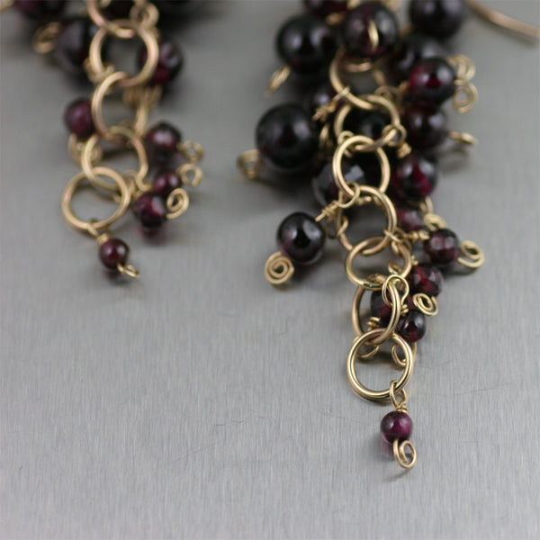 Garnet 14K Gold Chain Maille Earrings