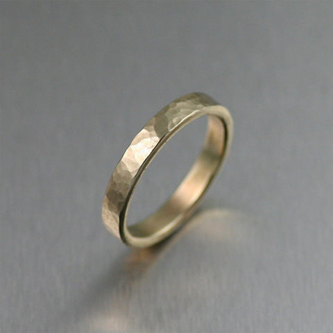 14K Hammered Gold Engagement Band Ring