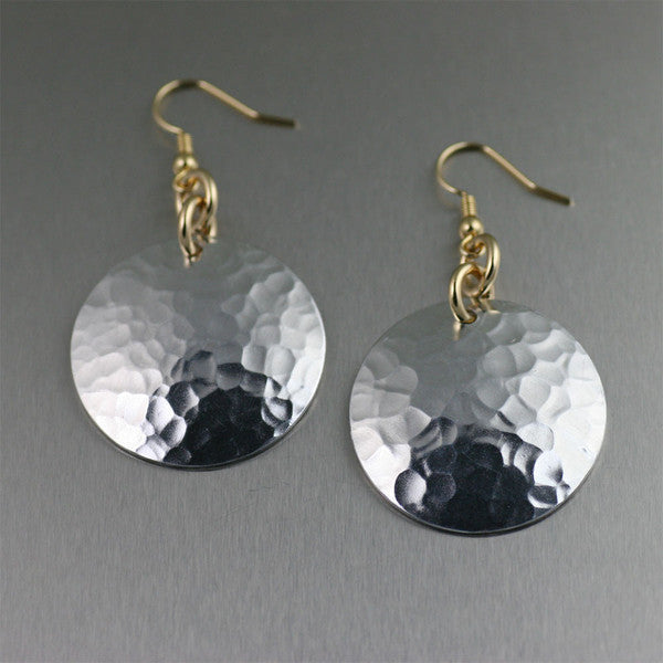 Hammered Aluminum Disc Drop Earrings