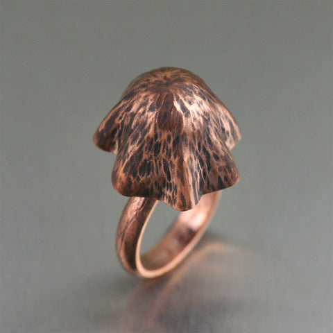 Liberty Cap Mushroom Copper Ring by jewelry designer John S Brana