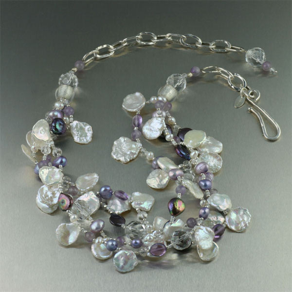 Amethyst Keishi Cornflake Pearl Necklace