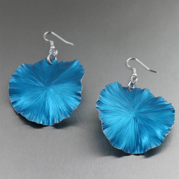 Blue Anodized Large Lily Pad Earrings - Anodized Aluminum Jewelry