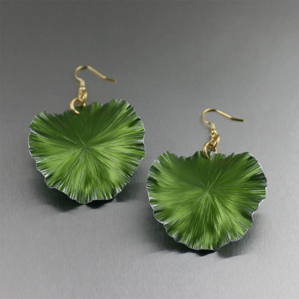 Lime Anodized Large Lily Pad Earrings - Anodized Aluminum Jewelry by John S Brana