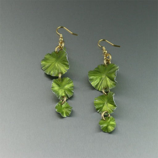 Lime Anodized Aluminum Three Tiered Lily Pad Chandelier Earrings