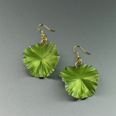 Lime Green Anodized Aluminum Lily Pad Earrings