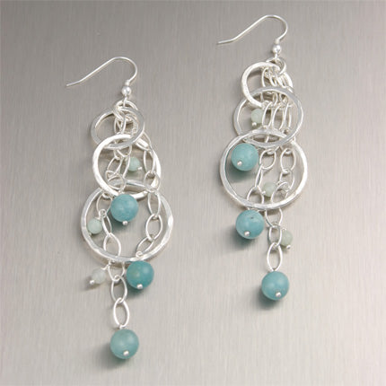 Amazonite Hammered Silver Earrings