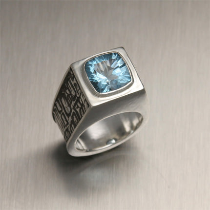 Men's Sterling Silver Ring with Blue Topaz - Tonga Collection