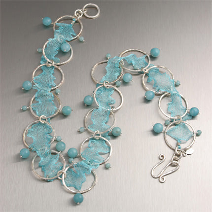 Aquamarine Italian Mesh Metal Ribbon with Amazonite