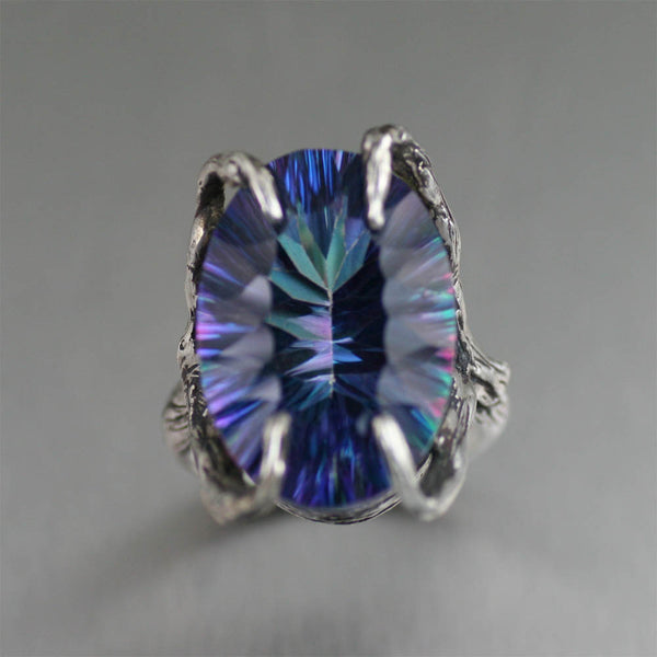 18.5 ct Cushion Cut Mystic Quartz Sterling Silver Cocktail Ring - Top View