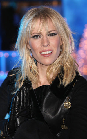 Natasha Bedingfield wears Hammered Copper Drop Earrings with Aquamarine by John S Brana - SoMa Collection