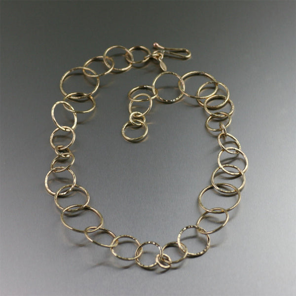 Nu Gold Brass Hammered Chain Necklace
