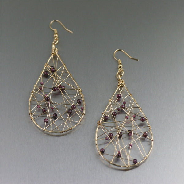 Nu Gold Wire Wrapped Tear Drop Earrings with Garnets
