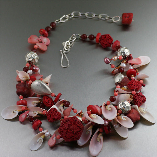 Cinnabar Coral Shell Necklace with Fine Silver and June Birthstones - Freshwater Pearls