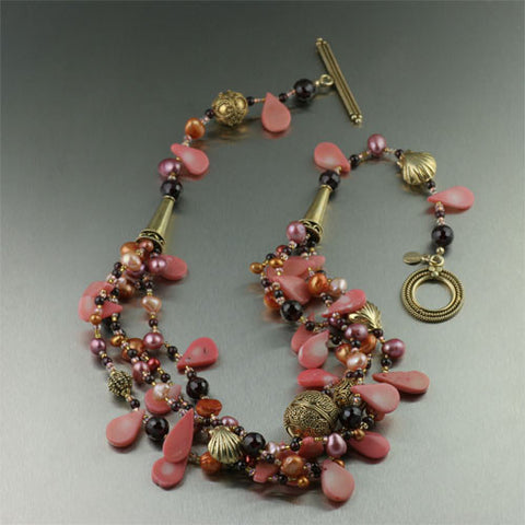 Pink Coral, Garnet, 24k Gold Vermeil Necklace