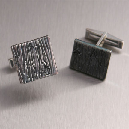 Oxidized Sterling Silver Handmade Men's Cufflinks – Redwood Collection