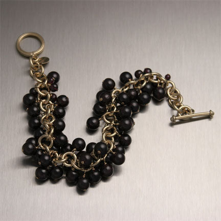 Garnet 14K Gold Filled Chainmail Bracelet - Handmade Jewelry